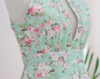 Floral mint green dress Marry cottage tea dress ruffle dress Mint green party dress prom dress cottage sundress Mint green bridesmaid dress