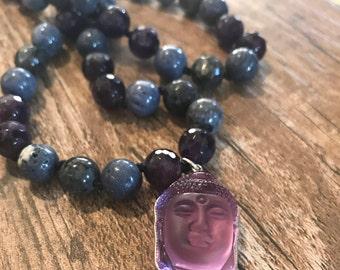 Purple Beaded Buddha Necklace, Buddha Charm, Gifts for Yogis, Yoga Jewelry, Om Necklace
