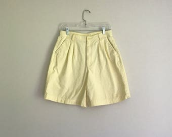 1990s super high waisted daffodil yellow cotton shorts / size large - petite