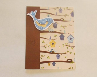 THANK YOU Card - Hand Stamped - Birds - Nest - Tree - Bird Houses - Brown - Blue - Yellow