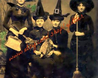 Four Fabulous Witches!  8x10 print