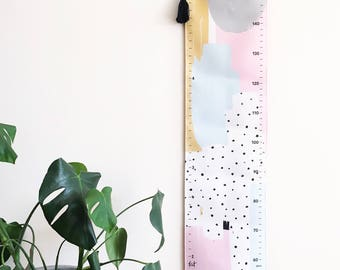 NEW! Growth chart - Handmade canvas height chart - Removable - Abstract pink grey mustard gold -Custom - Personalised