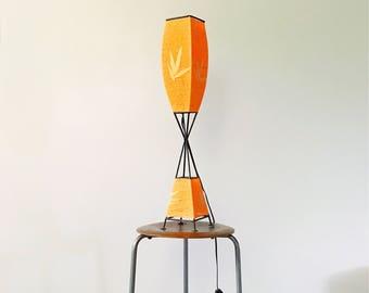 Tall Mid Century Modern Black Metal Lamp with Tangerine Orange String Shade