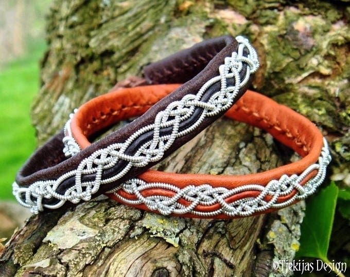 HUGINN Viking Norse Bracelet in Sami style | Unisex silksoft Brown Leather Cuff Bangle with Pewter Braid | Handcrafted to Your Wishes