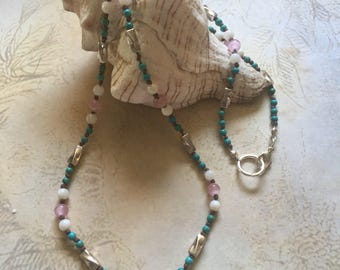 Knotted Wax Linen Beaded Necklace