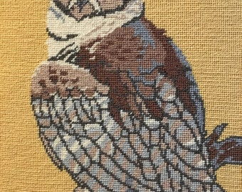 Vintage Handsome Horned Owl Needlepoint Wall Hanging