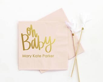 High Quality Baby Shower Napkins Personalized Napkins Oh Baby Custom Napkins Baby Shower  Supplies Baby Shower Decorations For