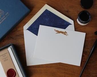 Fox Correspondence Card Set in Copper Foil