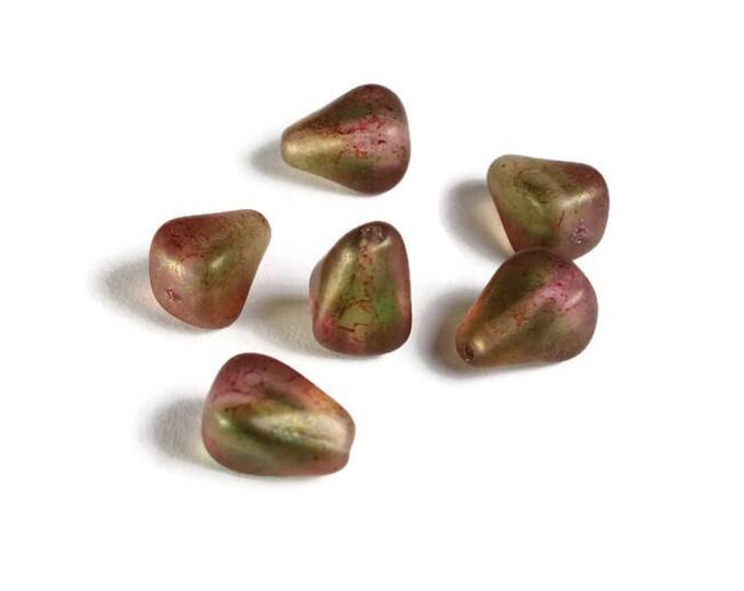 NEW Matte green pink Old Style Drop - Czech glass beads - Luster beads - Transparent Czech beads - Czech Teardrop beads - 12mm x 10mm (6014)