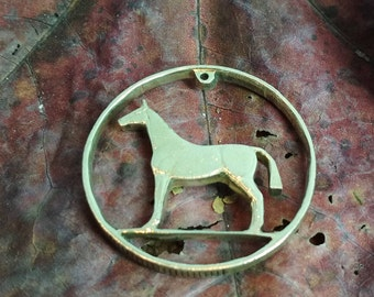 Horse Pendant necklace irish coin cut charm