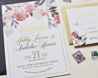 Foil Wedding Invitation, Floral Wedding Invitation, Gold Foil Wedding Invitation, Gold and Purple, Eggplant Purple, Painted Invitation, Gold