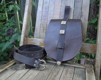 Viking Leather Pouch, Medieval Bag, Celtic, W/ Bronze Studs - Birka  (Belt Sold Separate)
