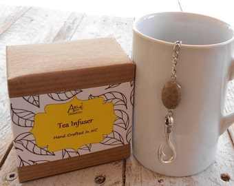 Nautical Tea Infuser, Fish Hook, Prosperity, Abundance, Maui, Moana, Polynesian Folklore, Fossilized Coral, Under 10 Dollars, Fisherman Gift