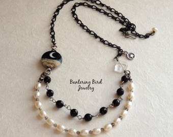 Black and White Statement Necklace, Freshwater Pearls, Onyx, Crescent Moon Lampwork, Sterling Silver Double Strand Bib