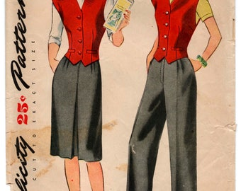 "1940's Simplicity Skirt, Pants and Vest Pattern - Bust 34"" - No. 1306"