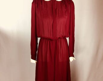 Lizzy & Johnny by Lucero Vintage 80s Dress Burgandy Cream Sheer Long Sleeve Slastic Waist Dress