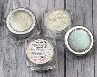 """Pixie Gems Holographic Shimmer Dust Sample - """"Dragon Scales"""" - all natural color shifting green glitter"""