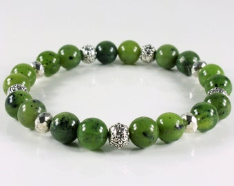 Canadian Jade Bracelet, stretchable bracelet, olive green gemstone, silver finish, semi-precious natural stones, stackable, gift idea ,3973