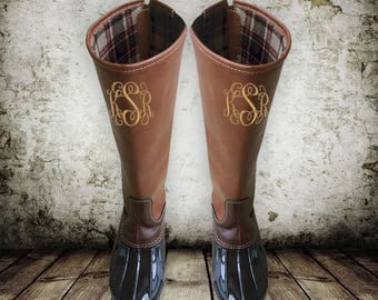 IN STOCK! Monogram Duck Boots, Tall Duck Boots, Monogram Brown Duck Boots, Monogram Duck Boots, Knee High Duck Boots, Preppy Duck Boots