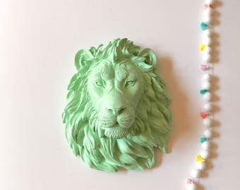 MINT LARGE LION Head wall mount Faux Taxidermy animal head wall hanging Safari animal wall art lion wall art nursery wall decor kids room