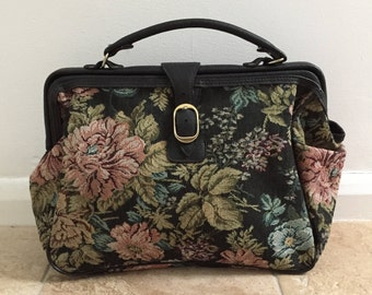 Vintage VTG 1980s 1990s Carpet Floral Tapestry Mary Poppins Doctor Bag