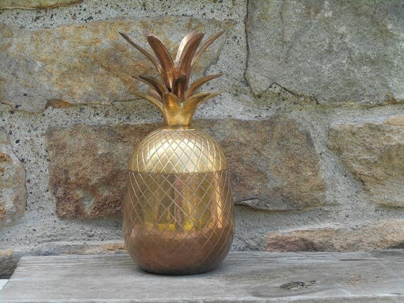 Vintage brass pineapple jar with lid trinket box candy jar for Decorative crafts inc brass