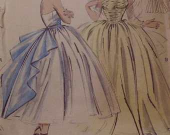 Vintage 1950s Butterick 6808 Evening Gown Sewing Pattern, Size 16 Bust 34