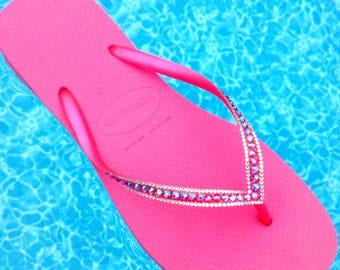 Custom Crystal Fuchsia Havaianas Flip Flops Slim Hot Pink Shimmer Rose w/ Swarovski Rhinestone Bling Beach Bridal Wedding Glass Slipper Shoe