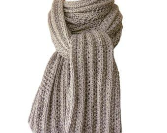 Hand Knit Scarf - Grey Smoke Cashmere Silk Trail Ridge Rib