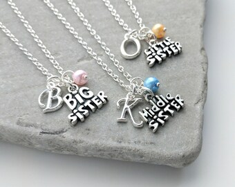 Sister Necklace Set, Personalised Sister Necklaces, Set of 3 Sister Necklace, Set of 2 Sister Necklace, Sister Jewelry, Sister Jewellery