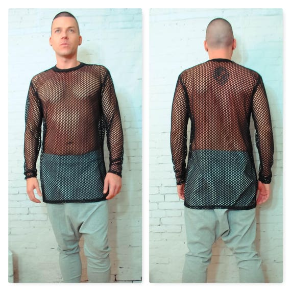 Wide Hole Mesh Shirt Spider Web Long Sleeve Shirt Tee Shirt sheer Sexy edm