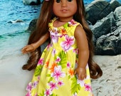 "Doll Hawaiian Tropical Sundress Set in Yellow-- Dress and Hibiscus Flower Clip -- American Made for Your 18"" Girl Doll"