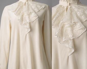 vintage top, Vintage Victorian Top, Vintage Ivory Top,Vintage Lace top, Vintage Ruffle top, Cream lace top, Ivory lace top, Sheer top  - S/M