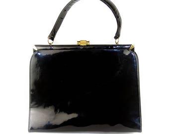 Vintage Bag By Dorian Black Patent Leather Framed Handbag / Purse / Satchel - Great Condition