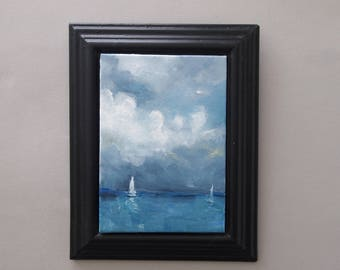 Seascape Oil Painting Original Art Sailing Picture Yachts Yachting Artwork Cloudscape Sea Clouds Canvas Board Rainclouds Coastal Scene