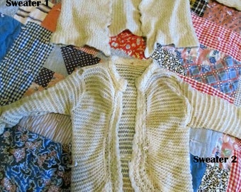 Two Antique Baby 100 year Old Wool  Sweaters