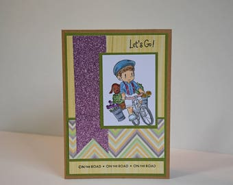 Let's Go- Handmade Card - On The Road - Boy riding Bike with his Best Friend , Card is ready to ship