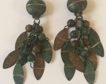Green Teal Metal Clips, Metal Clip Ons, Bohemian Dangle Earrings, Metal Bell Earrings, Long Teal Clip Ons, Colorful Clip Ons, Dangle Clips
