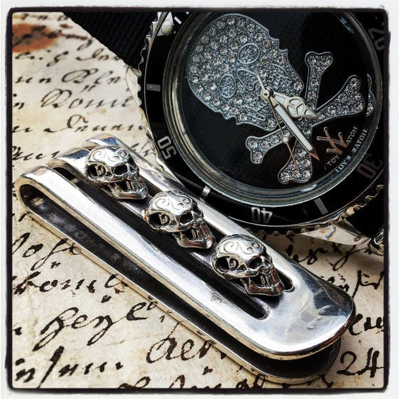 Etherial Jewelry - Rock Chic Talisman Luxury Biker Custom Handmade Artisan Pure Sterling Silver .925 Badass Skull Money Clip Holder