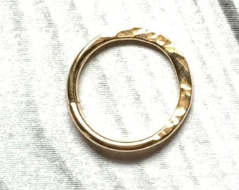 24K Gold Hammered Hoop, 20, 22, 24 Gauge, 24K Gold Nose Ring, 24K Gold Cartilage Earring, 6mm, 7mm, 8mm, 9mm, 10mm, 11mm, 12mm
