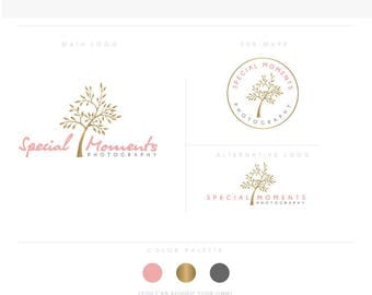 natural photographer Tree - Premade Photography Logo and Watermark, Classic Elegant Script Font GOLD GLITTER TREE branding pack Logo
