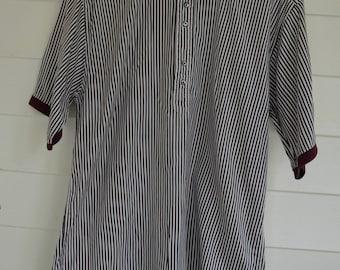 "Mens ""MICHAEL THOMAS"" Burgundy and Green striped Polo shirt"