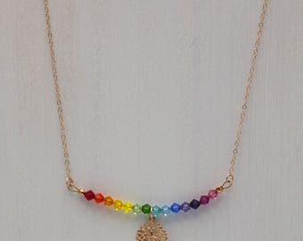 Rainbow Swarovski crystal and rose gold choker necklace with charm and crystal drop