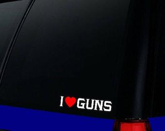I love guns decal, 2nd amendment car window decal, don't tread on me, right to bear arms gun collector sticker, anti-gun control vinyl decal