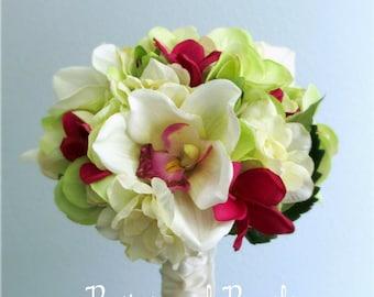 "Ivory, Light Green, and Raspberry Silk Bridal Bouquet, Cymbidium Orchid, Plumeria, Hydrangea, Wedding Flowers, ""Enamored"""