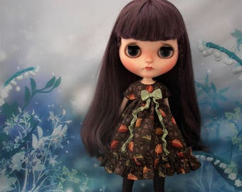 Blythe Dress ~ Brown Autumnal Leaves Empire Ruffles & Shabby Bow ~ Blythe Doll Clothes Outfit Pure Neemo S Licca Pullip