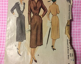 Vintage McCall's 8255, 1950's Fitted Dress With Scalloped Bodice Details
