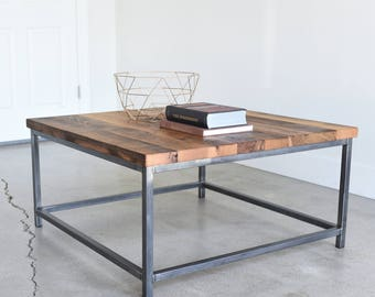 Industrial Square Coffee Table / Rustic Reclaimed Wood and Steel Box Frame Table