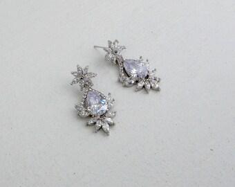 CZ Cluster Drop earrings ,Wedding earrings, Cubic Zirconia floral earrings, Crystal chandelier earrings, Dangle earrings, Silver