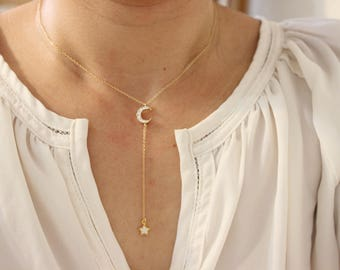 Moon and Star necklace, Lariat Necklace, Celestial necklace, Y Necklace , love you to the moon, Delicate Necklace, gift to girlfriend
